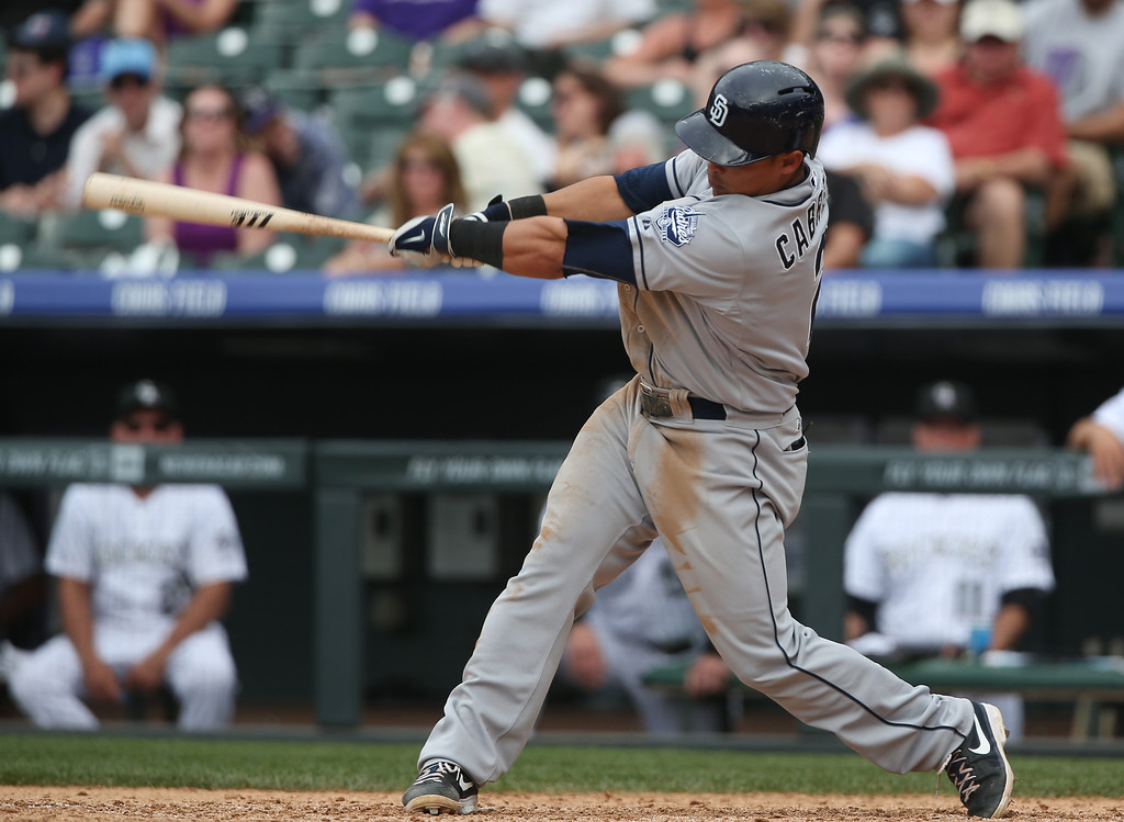 . San Diego Padres\' Everth Cabrera follows through with his swing after connecting for a two-run home run against the Colorado Rockies in the ninth inning of the Rockies\' 8-6 victory in 10 innings of a baseball game in Denver on Sunday, May 18, 2014. (AP Photo/David Zalubowski)