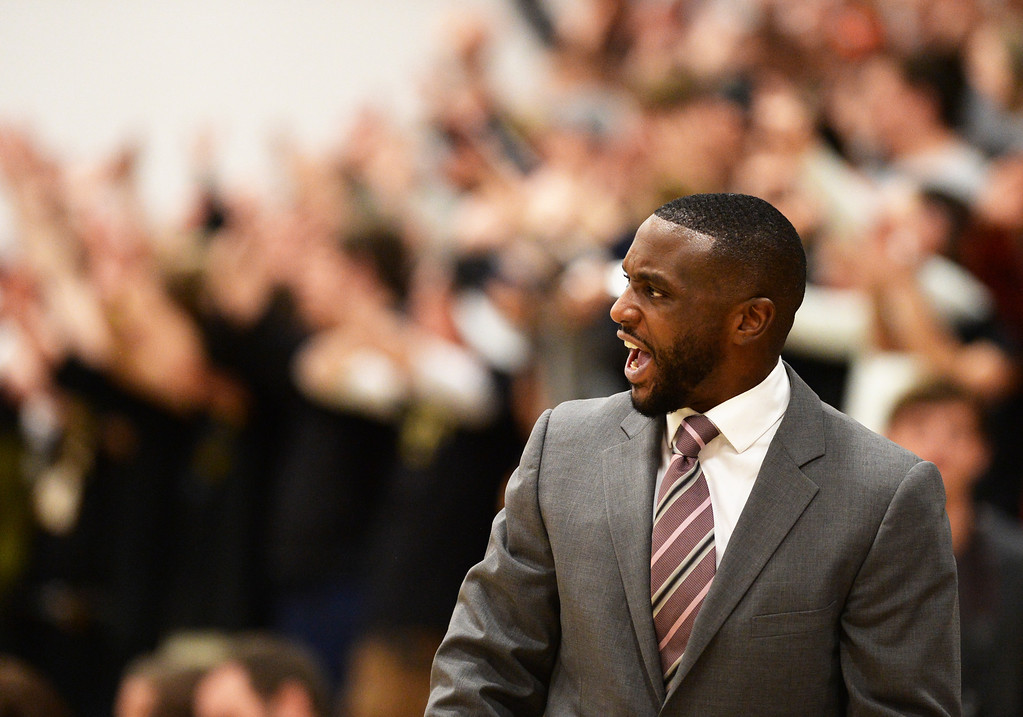 . CENTENNIAL, CO. JANUARY 18: Head coach Danny Fisher of Overland High School is seen during the game against Arapahoe High School at Arapahoe High School. Centennial Colorado. January 18. 2014. Arapahoe won 62-54.  (Photo by Hyoung Chang/The Denver Post)