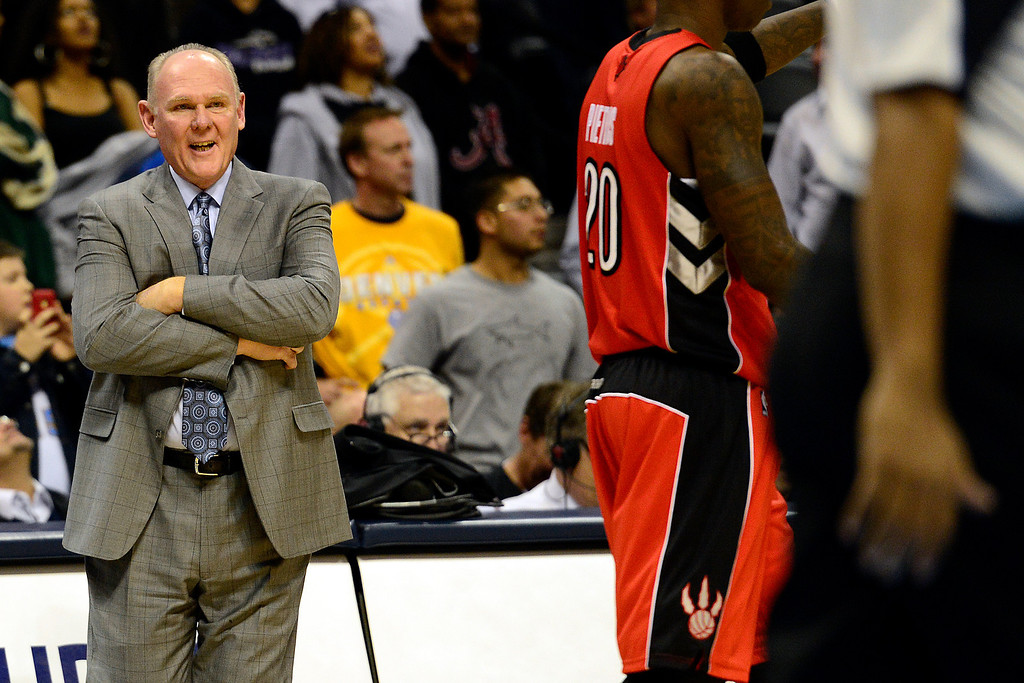 . Denver Nuggets head coach George Karl jaws with the refs during the second half of the Nuggets\' 113-110 win at the Pepsi Center on Monday, December 3, 2012. AAron Ontiveroz, The Denver Post