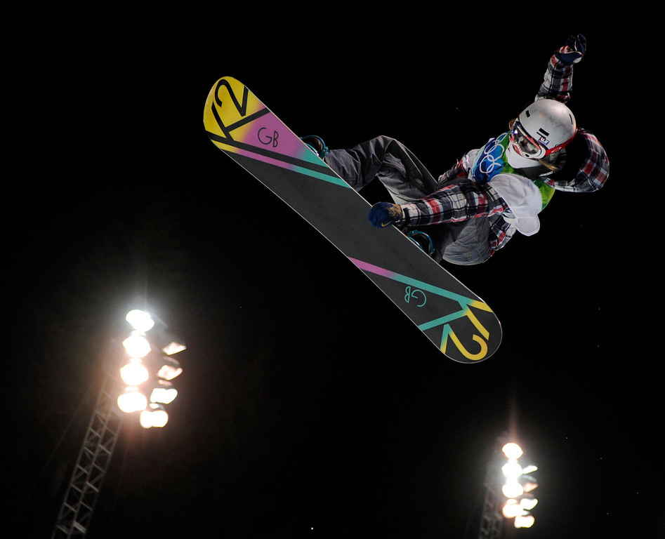 . Gretchen Bleiler of the USA competes during the finals in the women\'s snowboard halfpipe at the Vancouver 2010 Olympics in Vancouver, British Columbia, Thursday, Feb. 18, 2010. (AP Photo/Mark J. Terrill)