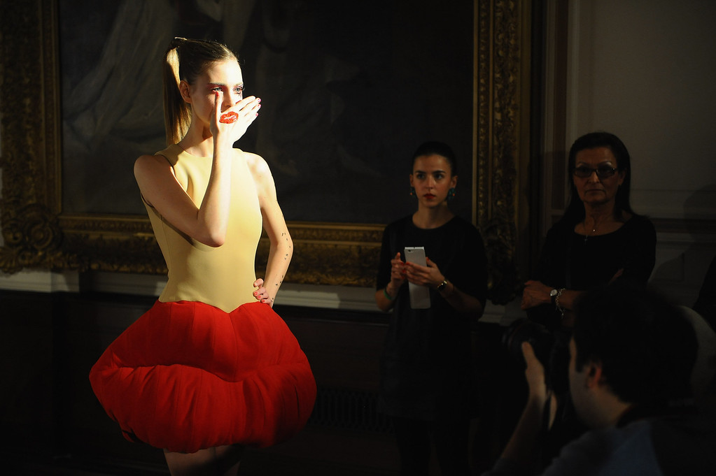. A model poses during the Liz Black presentation at the Fashion Scout venue during London Fashion Week AW14 at Freemasons Hall on February 15, 2014 in London, England.  (Photo by Anthony Harvey/Getty Images)
