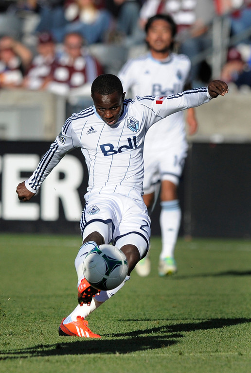 . COMMERCE CITY, CO. - OCTOBER 19: Vancouver forward Kekuta Manneh (23) scored in the first half. The Colorado Rapids hosted the Vancouver Whitecaps at Dick\'s Sporting Goods Park Saturday, October 19, 2013. Photo By Karl Gehring/The Denver Post
