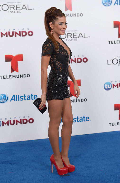 . MIAMI, FL - AUGUST 15:  Adriana Fonseca arrives for Telemundo\'s Premios Tu Mundo Awards at American Airlines Arena on August 15, 2013 in Miami, Florida.  (Photo by Gustavo Caballero/Getty Images)