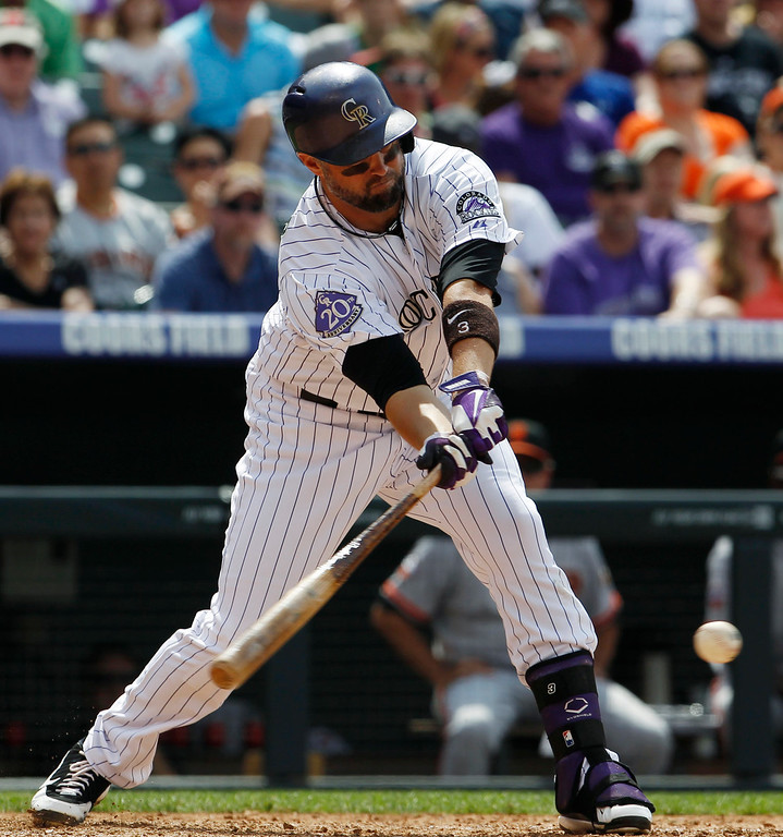 . Colorado Rockies\' Michael Cuddyer grounds out against the San Francisco Giants in the fourth inning of a baseball game in Denver on Sunday, June 30, 2013.  (AP Photo/David Zalubowski)