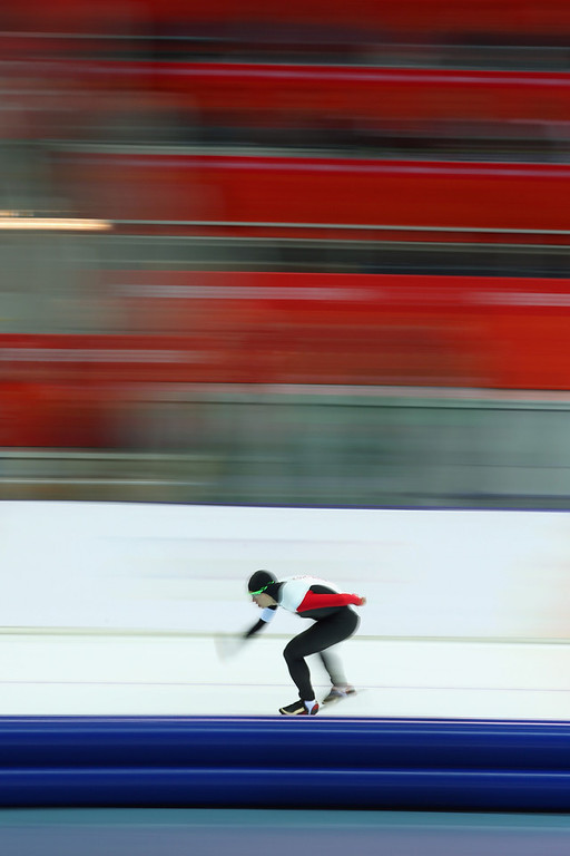 . Mathieu Giroux of Canada competes during the Men\'s 5000m Speed Skating event during day 1 of the Sochi 2014 Winter Olympics at Adler Arena Skating Center on February 8, 2014 in Sochi, Russia.  (Photo by Quinn Rooney/Getty Images)