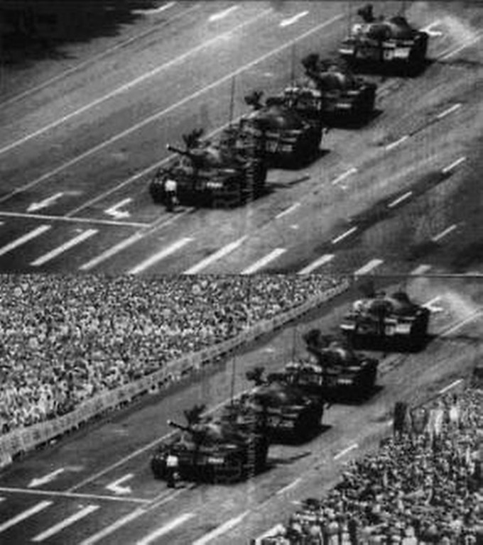 . November 2007: A study by Dario Sacchi, Franca Agnoli and Elizabeth Loftus, published in the journal  Applied Cognitive Psychology, shows that people\'s memories of events can be altered by viewing doctored images. For example, when presented with doctored images of the 1989 Tiananmen Square protest participants recalled the event as larger and more violent (shown in the lower panel is the doctored image in which the crowd was added).   SOURCE: http://www.cs.dartmouth.edu/farid/research/digitaltampering/