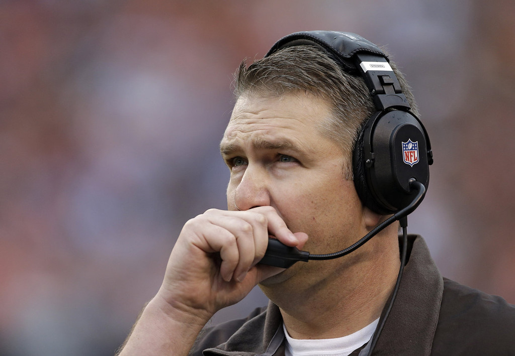 . Cleveland Browns head coach Rob Chudzinski talks into his headset in the second quarter of an NFL football game against the Detroit Lions, Sunday, Oct. 13, 2013, in Cleveland. (AP Photo/Mark Duncan)