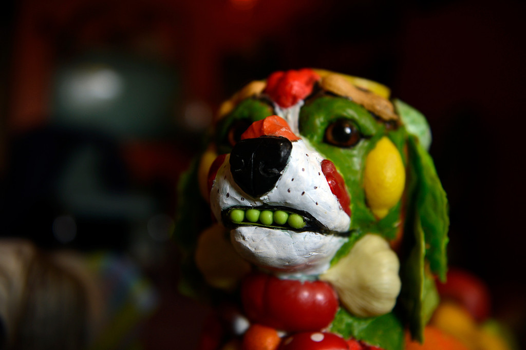 . Edgewater, CO. - January 28:  artist Dede LaRue\'s  Vege Beagle with pea pod teeth made in her home studio in Edgewater, Colorado. January 28, 2013. (Photo By Joe Amon / The Denver Post)