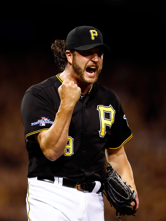 . Jason Grilli #39 of the Pittsburgh Pirates celebrates after defeating the St. Louis Cardinals in Game Three of the National League Division Series at PNC Park on October 6, 2013 in Pittsburgh, Pennsylvania.  (Photo by Justin K. Aller/Getty Images)