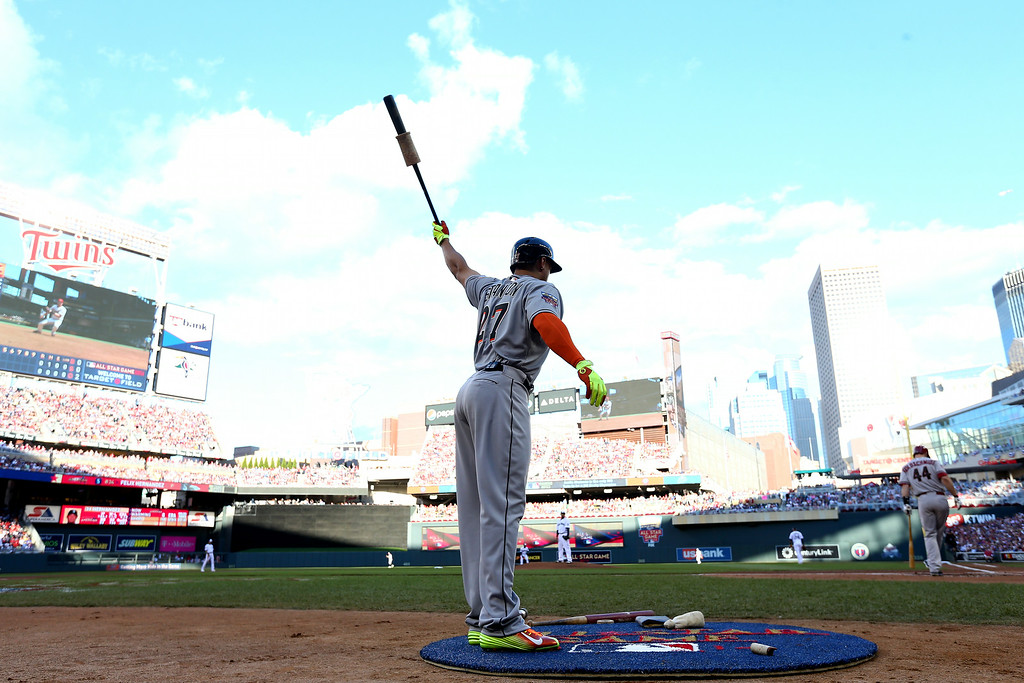 . MINNEAPOLIS, MN - JULY 15: National League All-Star Giancarlo Stanton #27 of the Miami Marlins stands in the on deck circle against the American League All-Stars during the 85th MLB All-Star Game at Target Field on July 15, 2014 in Minneapolis, Minnesota.  (Photo by Elsa/Getty Images)