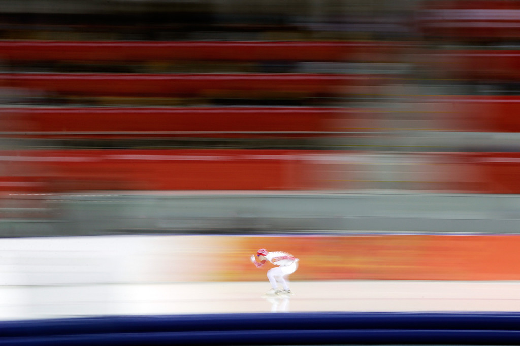 . Olga Fatkulina of Russia competes during the Women\'s 1500m Speed Skating event on day 9 of the Sochi 2014 Winter Olympics at Adler Arena Skating Center on February 16, 2014 in Sochi, Russia.  (Photo by Adam Pretty/Getty Images)