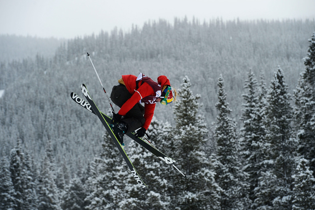 . Grete Eliassen, USA,  gets airborne on the third jump during her first run at the U.S. Grand Prix slope style finals at the Copper Mountain ski area Saturday afternoon, December 21, 2013. Eliassen placed third.  (Photo By Andy Cross / The Denver Post)