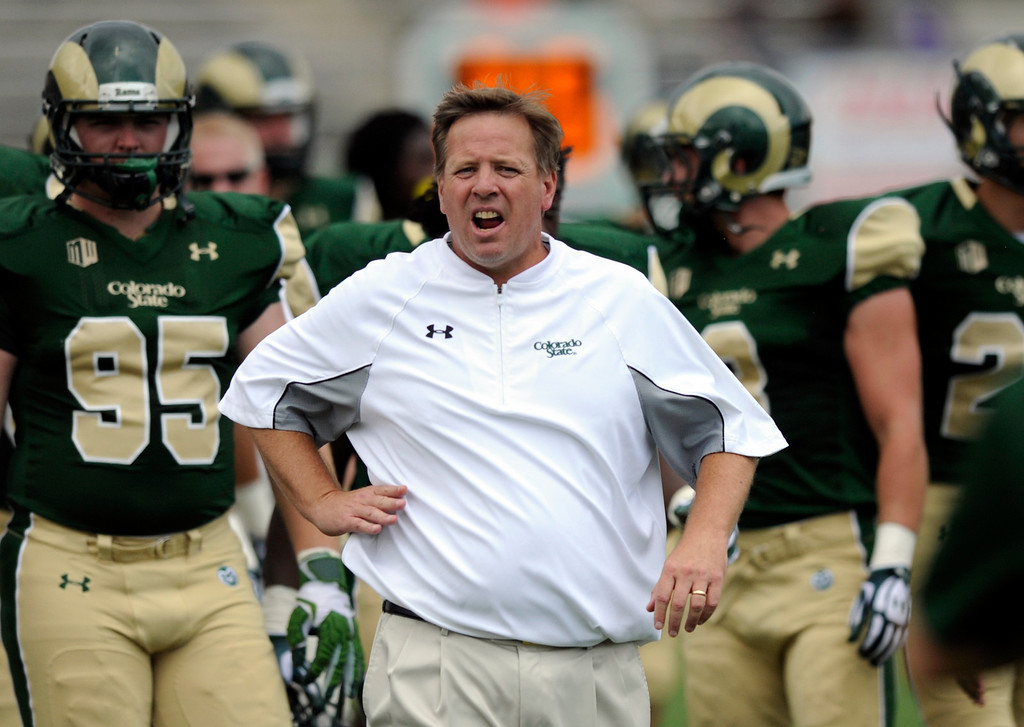 . FORT COLLINS, CO. - SEPTEMBER 14: The Colorado State University football team defeated Cal Poly at Hughes Stadium in Fort Collins Saturday afternoon, September 14, 2013.  Coach Jim McElwain led the Rams to the team\'s first win of the season. Photo By Karl Gehring/The Denver Post
