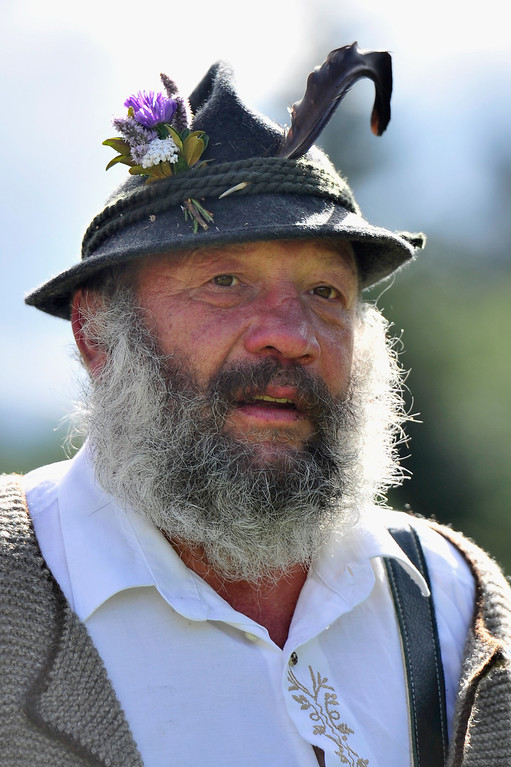 . An alpine cattle herder is pictured during the annual Viehscheid cattle drive on September 11, 2013 near Bad Hindelang, Germany.   (Photo by Lennart Preiss/Getty Images)