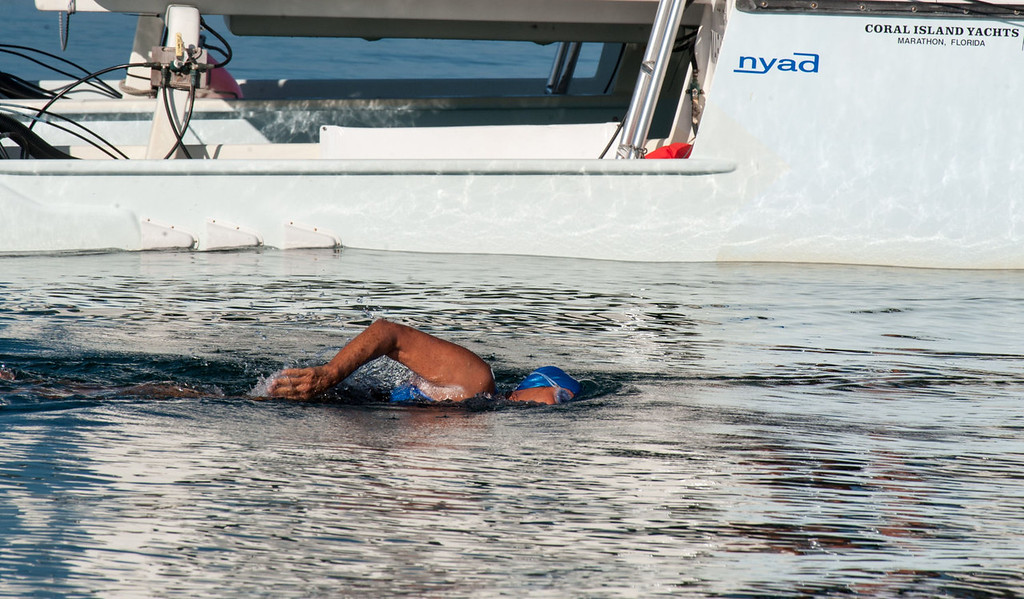 . US swimmer Diana Nyad begins her attempt to swim in a three-day non-stop journey from Havana to Florida at the Ernest Hemingway Nautical Club, in Havana on August 31, 2013.   YAMIL LAGE/AFP/Getty Images