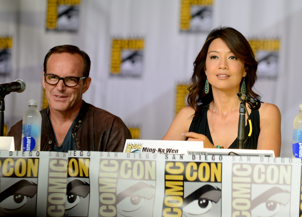 ". Clark Gregg, left, and Ming-Na Wen attend ""Agent of S.H.I.E.L.D.\"" panel on Day 3 of Comic-Con International on Friday, July 19, 2103, in San Diego. (Photo by Jordan Strauss/Invision/AP)"