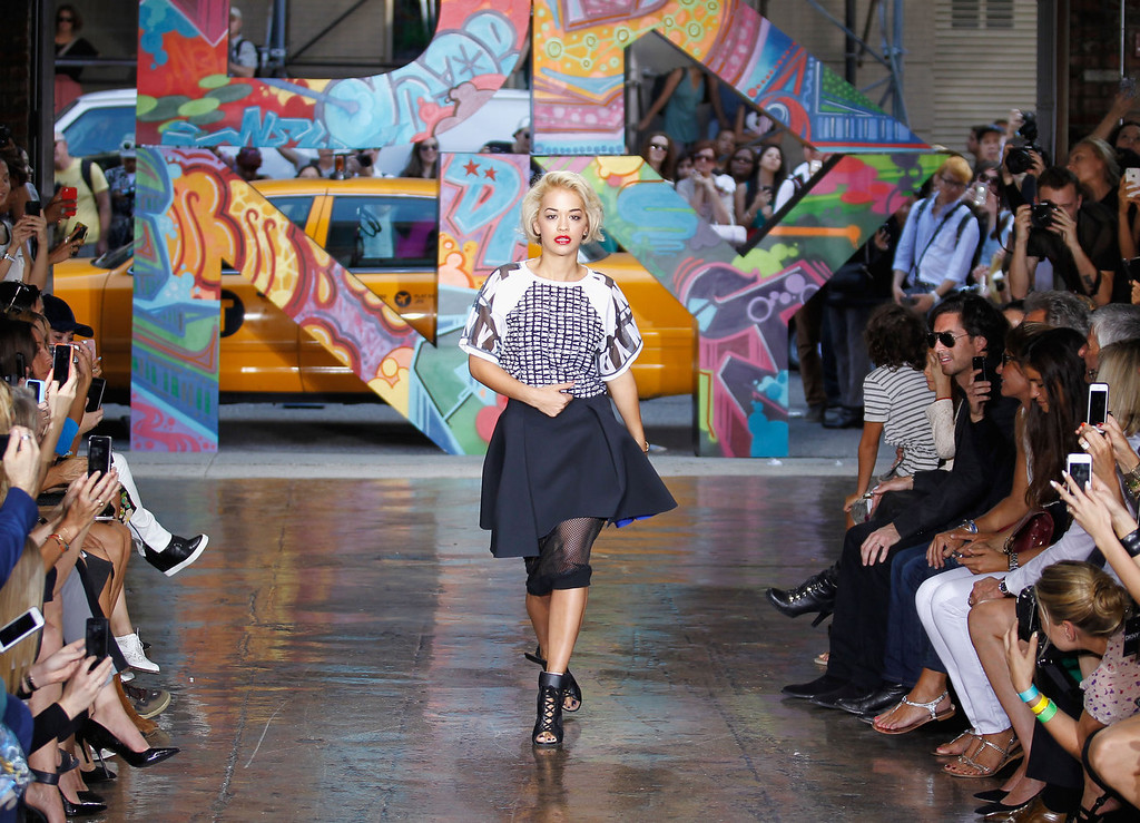 . Rita Ora walks the runway at DKNY Women\'s Spring 2014 fashion show dring Mercedes-Benz Fashion Week Spring 2014 on September 8, 2013 in New York City.  (Photo by Peter Michael Dills/Getty Images)
