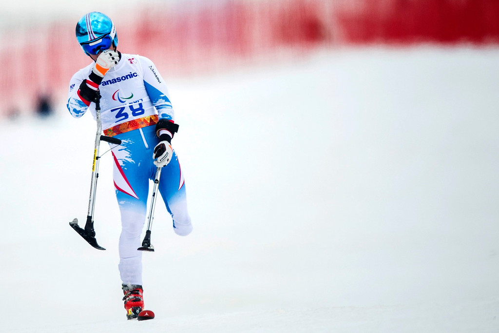 . Austrian Thomas Grochar during in the men\'s super-G standing race at the Winter Paralympics 2014 Sochi in Krasnaya Polyana, Russia.  EPA/ENNIO LEANZA