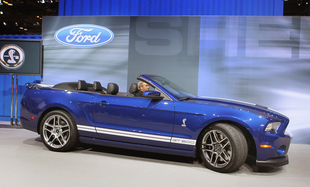 . Ford introduced the Shelby Mustang GT500 convertible during the media preview of the Chicago Auto Show at McCormick Place on February 8, 2012 in Chicago, Illinois.    (Photo by Scott Olson/Getty Images)