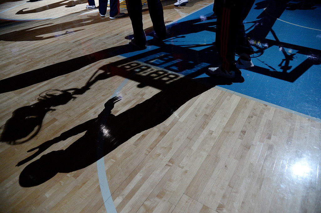 . Shadows on the floor at the Denver Nuggets Oklahoma City Thunder game January 9, 2014 at Pepsi Center. (Photo by John Leyba/The Denver Post)
