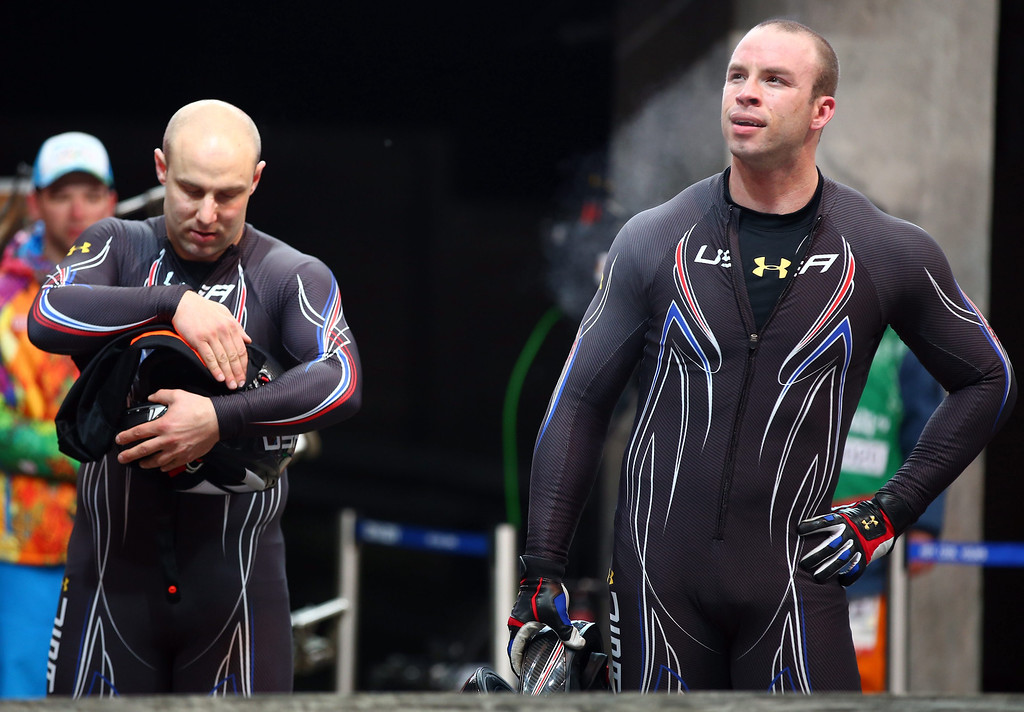 . Cory Butner (R) and Christopher Fogt during the Two-Man Bobsleigh competition at the Sanki Sliding Center at the Sochi 2014 Olympic Games, Krasnaya Polyana, Russia, on Feb. 16, 2014. EPA/JENS BUETTNER