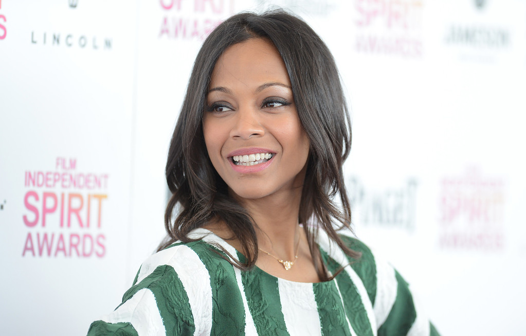 . SANTA MONICA, CA - FEBRUARY 23:  Actress Zoe Saldana attends the 2013 Film Independent Spirit Awards at Santa Monica Beach on February 23, 2013 in Santa Monica, California.  (Photo by Jason Merritt/Getty Images)