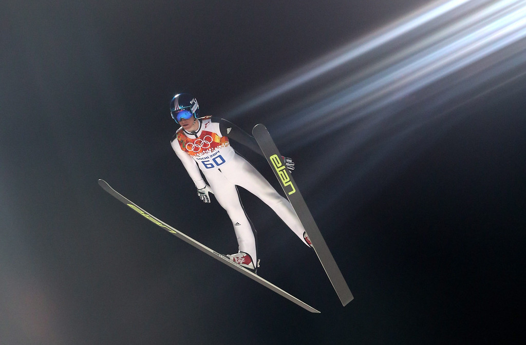 . Peter Prevc of Slovenia in action during a trial jump in RusSki Gorki Jumping Center at the Sochi 2014 Olympic Games, Krasnaya Polyana, Russia, 14 February 2014.  EPA/GRZEGORZ MOMOT
