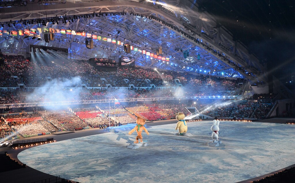 . The Sochi Olympics winter games official mascots, the Leopard, the Polar Bear, and the Hare, perform during the Opening Ceremony of the Sochi Winter Olympics at the Fisht Olympic Stadium on February 7, 2014 in Sochi.  AFP PHOTO / DAMIEN MEYER/AFP/Getty Images