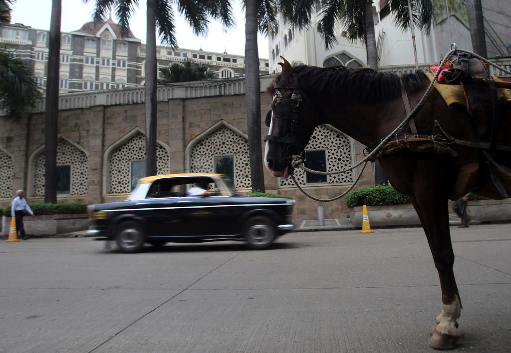 . In this Wednesday, July 31, 2013, a Mumbai Premier Padmini taxi rides past a horse drawn carriage, in Mumbai, India. More than 400 Premier Padmini taxis are expected to stop running in Mumbai in August in line with a Maharashtra government order that bans cabs that are more than 20 years old running. (AP Photo/Rafiq Maqbool)