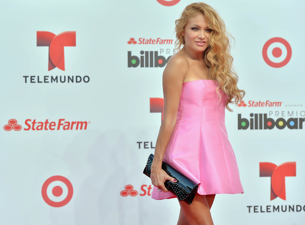 . MIAMI, FL - APRIL 25:  Paulina Rubio arrives at Billboard Latin Music Awards 2013 at Bank United Center on April 25, 2013 in Miami, Florida.  (Photo by Gustavo Caballero/Getty Images)