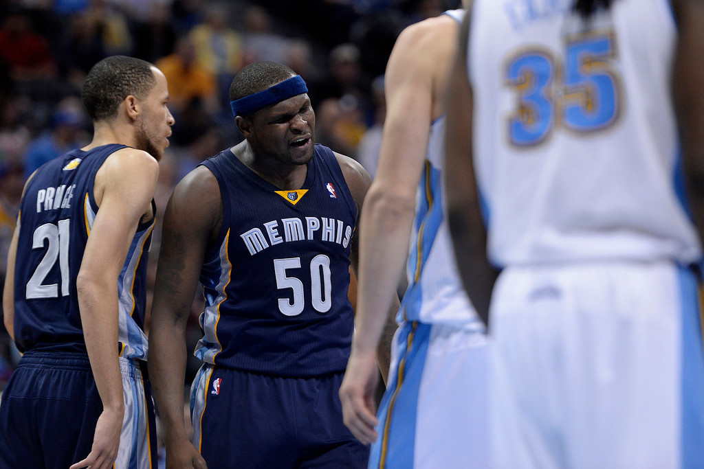 . Memphis Grizzlies forward Zach Randolph (50) reacts to drawing a foul late against the Denver Nuggets during the fourth quarter of the Grizzlies\' 94-92 win. (Photo by AAron Ontiveroz/The Denver Post)