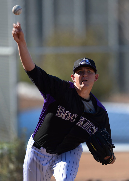 . SCOTTSDALE, AZ. - FEBRUARY 21: Will Harris (48) of the Colorado Rockies warms up during Spring Training February 21, 2013 in Scottsdale. (Photo By John Leyba/The Denver Post)