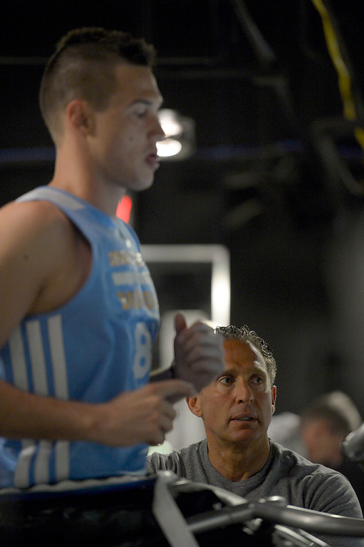 . Denver Nuggets Danilo Gallinari goes through a rigorous workout with assistant coach/strength and conditioning Steve Hess May 27, 2014 at Pepsi Center. (Photo by John Leyba/The Denver Post)