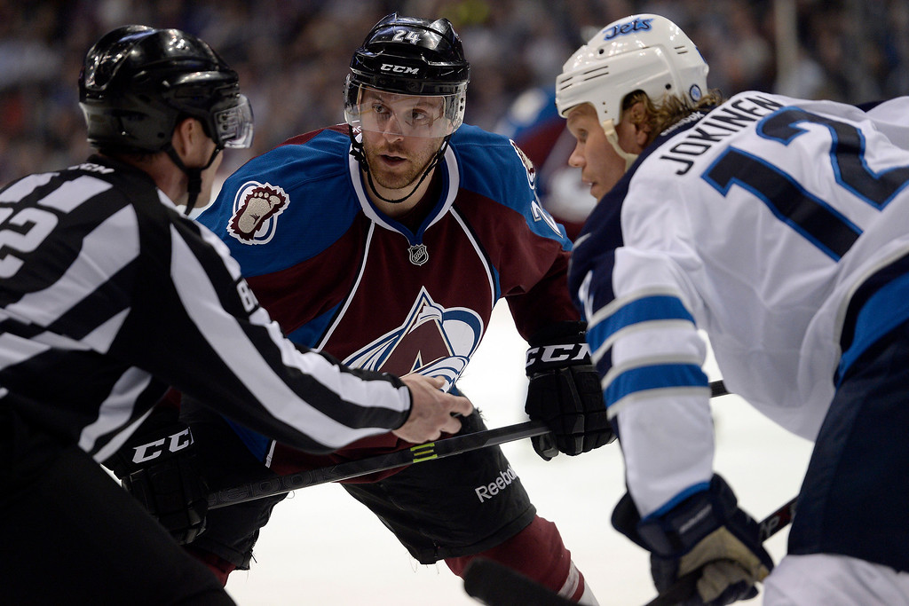 . Marc-Andre Cliche (24) of the Colorado Avalanche and Olli Jokinen (12) of the Winnipeg Jets face off during the Avs\' 3-2 win. (Photo by AAron Ontiveroz/The Denver Post)