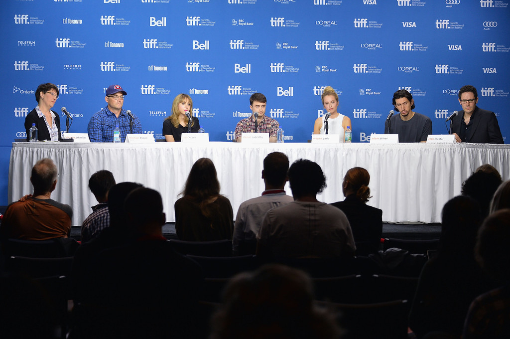 ". (L-R) Moderator Johanna Schneller, director Michael Dowse, actress Zoe Kazan, actor Daniel Radcliffe, actress Megan Park, actor Adam Driver and screenwriter Elan Mastai speak onstage at ""The F Word\"" Press Conference during the 2013 Toronto International Film Festival at TIFF Bell Lightbox on September 8, 2013 in Toronto, Canada.  (Photo by Alberto E. Rodriguez/Getty Images)"