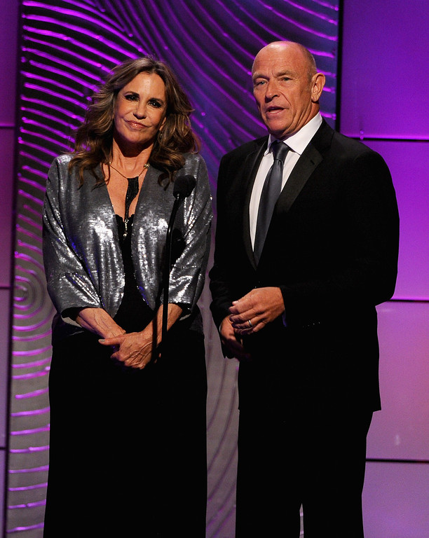 . Actors Jess Walton and Corbin Bernsen speak onstage during The 40th Annual Daytime Emmy Awards at The Beverly Hilton Hotel on June 16, 2013 in Beverly Hills, California.  (Photo by Kevin Winter/Getty Images)