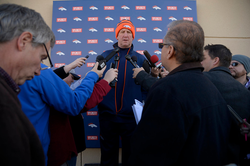 . Denver Broncos head coach John Fox addresses the media during his press conference after practice January 2, 2014 at Dove Valley (Photo by John Leyba/The Denver Post)