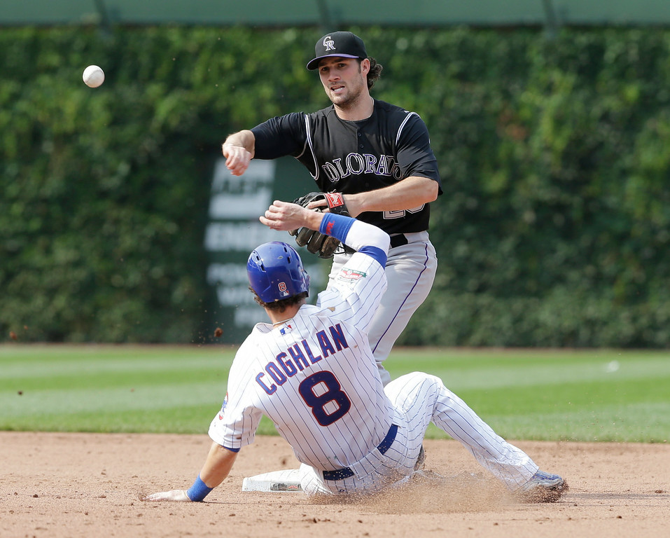 . Colorado Rockies second baseman Charlie Culberson (23), top, throws out Chicago Cubs\' Starlin Castro at first base after forcing out Chris Coghlan (8) at second base during the eighth inning of a baseball game in Chicago, Thursday, July 31, 2014. (AP Photo/Nam Y. Huh)