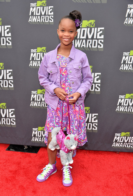 . Actress Quvenzhane Wallis arrives at the 2013 MTV Movie Awards at Sony Pictures Studios on April 14, 2013 in Culver City, California.  (Photo by Alberto E. Rodriguez/Getty Images)