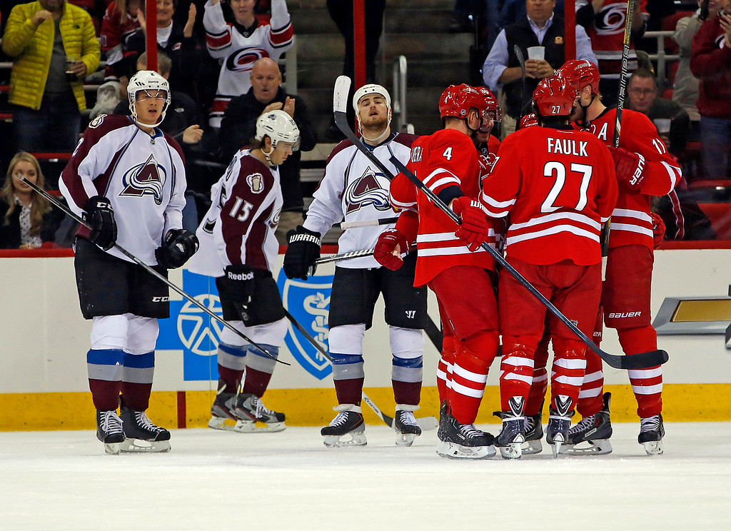 . Carolina Hurricanes celebrate a goal by Jordan Staal as the Colorado Avalanche players look on during the first period of an NHL hockey game in Raleigh, N.C., Tuesday, Nov. 12, 2013. The Hurricanes won 2-1. (AP Photo/Karl B DeBlaker)