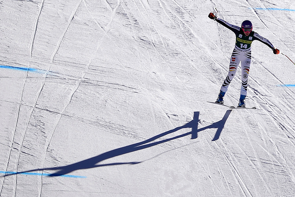 . German skier Maria Hoefl-Riesch catches air during her training run.   (Photo by AAron Ontiveroz/The Denver Post)