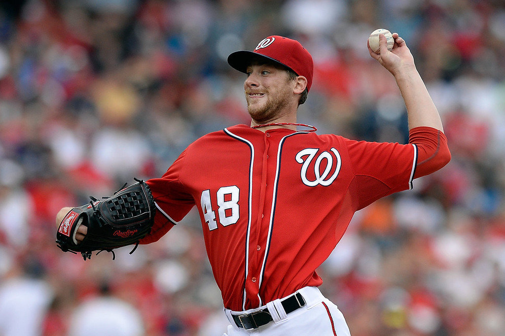 . Ross Detwiler #48 of the Washington Nationals throws a pitch in the second inning during a game against the Colorado Rockies at Nationals Park on June 23, 2013 in Washington, DC.  (Photo by Patrick McDermott/Getty Images)