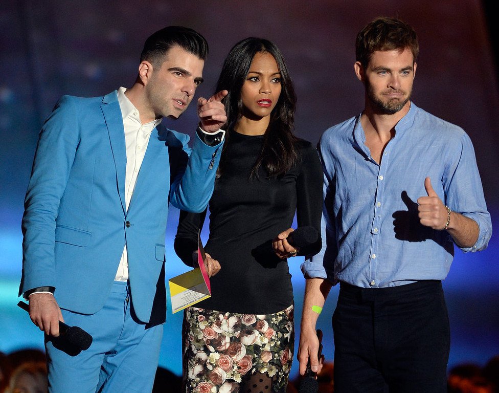 . (L-R) Actors Zachary Quinto, Zoe Saldana and Chris Pine speak onstage during the 2013 MTV Movie Awards at Sony Pictures Studios on April 14, 2013 in Culver City, California.  (Photo by Kevork Djansezian/Getty Images)