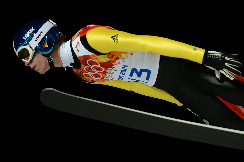 . Germany\'s Andreas Wellinger  competes in the Men\'s Ski Jumping Normal Hill Individual trial for competition at the RusSki Gorki Jumping Center during the Sochi Winter Olympics on February 9, 2014 in Rosa Khutor.   PETER PARKS/AFP/Getty Images