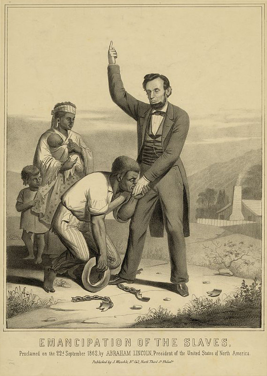 . Emancipation of the slaves, proclaimed on the 22nd September 1862, by Abraham Lincoln, President of the United States of North America. J. Waeshle.   Library of Congress