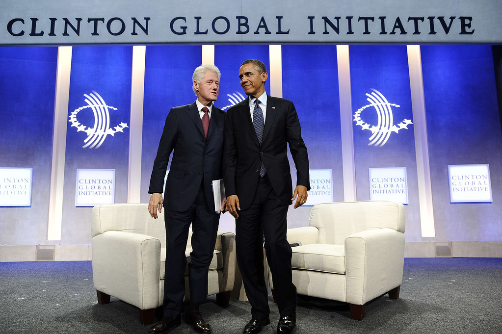 . US President Barack Obama and former president Bill Clinton leave after participating in a conversation about the future of health care reform in America, and the benefits of expanding access to quality health care around the globe at Clinton Global Initiative in New York on September 24, 2013. JEWEL SAMAD/AFP/Getty Images