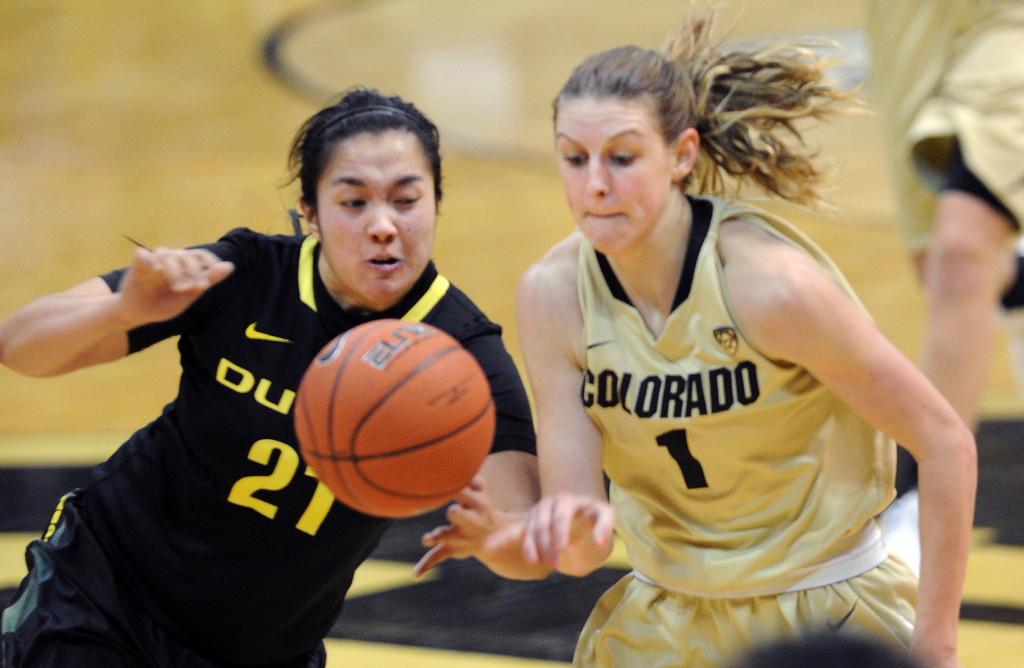 . Amanda Delgado, left, of Oregon, fouls Lexy Kresl of CU. Cliff Grassmick / February 10, 2013