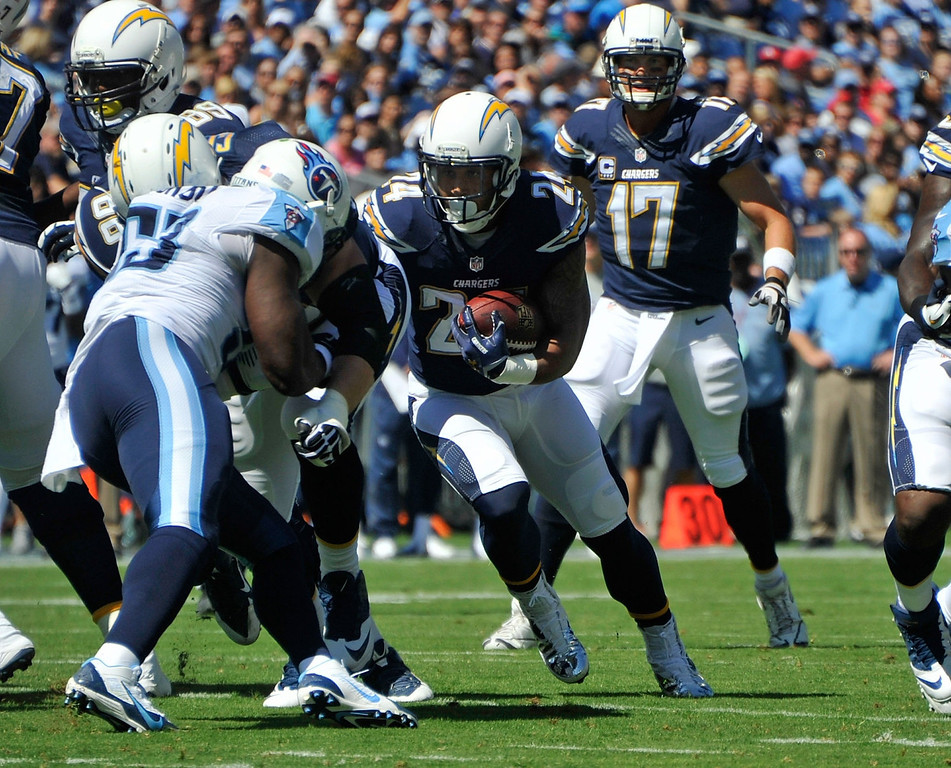 . Ryan Mathews #24 of the San Diego Chargers rushes against the Tennessee Titansat LP Field on September 22, 2013 in Nashville, Tennessee.  (Photo by Frederick Breedon/Getty Images)