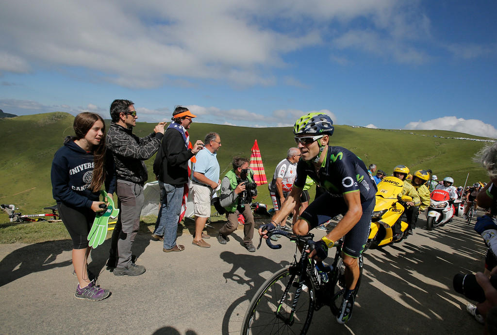 . Spain\'s Alejandro Valverde climbs Port de Bales pass during the sixteenth stage of the Tour de France cycling race over 237.5 kilometers (147.6 miles) with start in Carcassonne and finish in Bagneres-de-Luchon, France, Tuesday, July 22, 2014. (AP Photo/Christophe Ena)