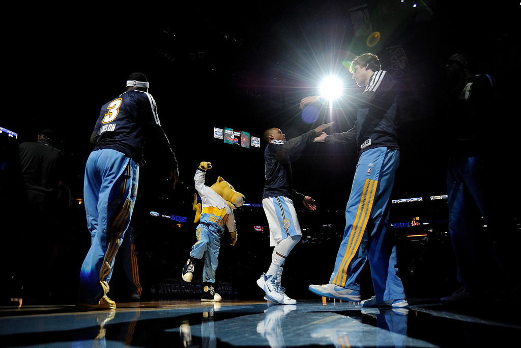 . Denver Nuggets guard Randy Foye (4) is introduced before the first quarter against the Memphis Grizzlies. (Photo by AAron Ontiveroz/The Denver Post)